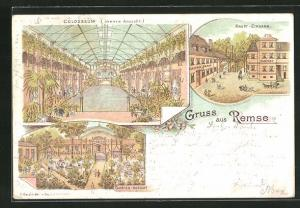 Lithographie Remse, Haupteingang Gasthof Remse, Innere Ansicht vom Colosseum, Schloss