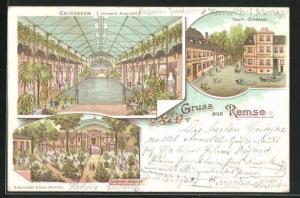 Lithographie Remse, Haupteingang Gasthof Remse, Innere Ansicht vom Colosseum, Gartenansicht, Schloss
