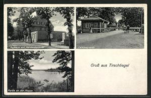 AK Tirschtiegel, Landesgrenze, Rathaus mit Heldendenkmal, Partie an der Koppe