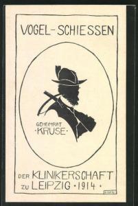 Künstler-AK Leipzig, Vogelschiessen der Klinikerschaft 1914, Schattenbild Geheimrat Kruse