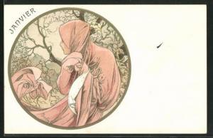 Künstler-Lithographie Alphonse Mucha: Janvier, Jugendstil, Kalender, Januar, Allegorie