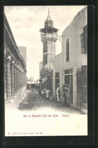 AK Tunis, Rue et Mosquee Sidi ben Ziad
