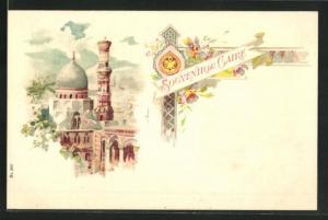 Lithographie Cairo, Blick auf die Moschee