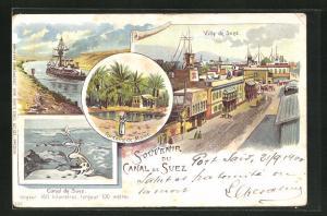 Lithographie Suez, Vue de Ville, Canal de Suez, Fontaine de Moise