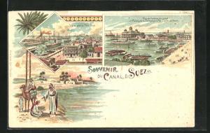 Lithographie Suez, Vue de Port de Paort Said, Vue de l`entree du canal