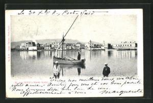 AK Suez, Marèe haute, Boote auf dem Kanal