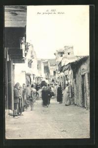 AK Fez, Rue principale du Mellah, Strassenpartie