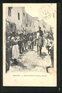 AK Mazagan, Entrée du Général d`Amade, Französ. General und Marokkanische Soldaten