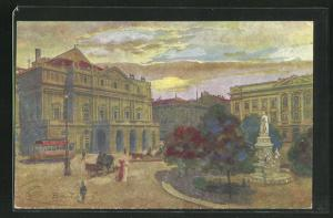 Künstler-AK G. Guerzoni: Milano, Piazza e Treatro della Scala