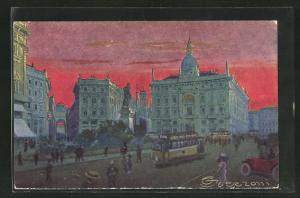 Künstler-AK G. Guerzoni: Milano, Piazza Cordusio, Platz mit Strassenbahn