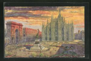 Künstler-AK G. Guerzoni: Milano, Piazza del Duomo