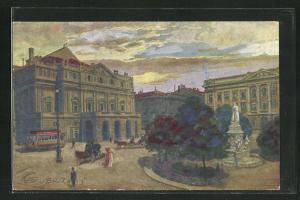 Künstler-AK G. Guerzoni: Milano, Galleria Vittorio Emanuele II., Platz mit Denkmal und Strassenbahn