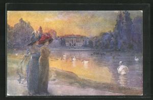 Künstler-AK G. Guerzoni: Milano, Giardini Pubblici et Villa Reale
