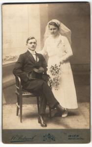Fotografie J. E. Bednarik, Wien, Portrait Braut und Bräutigam, Hochzeit