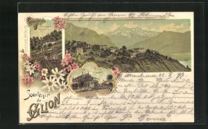 Lithographie Glion, Blick auf Ort und Bahnhof