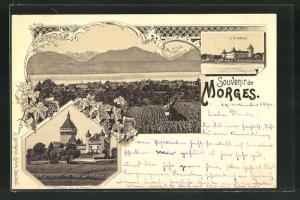 Lithographie Morges, Panorama, L`Arsenal, Chateau de Vufflens