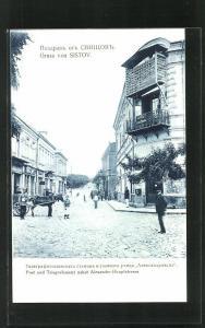 AK Sistov, Blick zur Post und Telegrafenamt nebst Alexander-Hauptstrasse