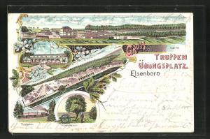 Lithographie Elsenborn, Truppenübungsplatz mit Verwaltungsgebäude, Offiziercasino, Unter-Blechhausen