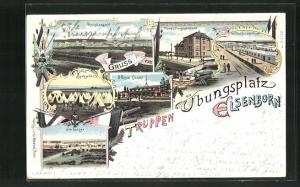Lithographie Elsenborn, Truppenübungsplatz Hauptansicht, Spitzzelte, Offiziercasino