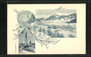 AK Davos, Gesamtansicht und Kirchen im Winter