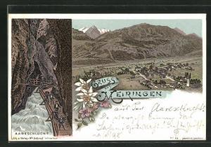 Lithographie Meiringen, Panorama, Wanderer in der Aareschlucht