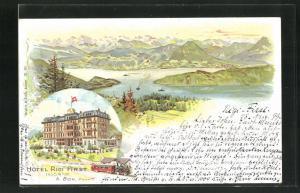 Lithographie Rigi-First, Hotel Rigi First, Gesamtansicht