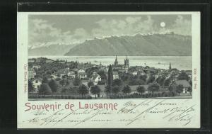 Mondschein-AK Lausanne, Panorama