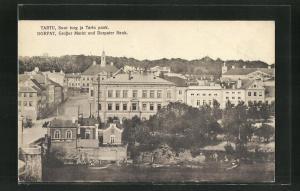 AK Tartu / Dorpat, Grosser Markt und Dorpater Bank