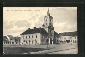 AK Unruhstadt, Alter Markt mit Rathaus