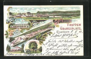 Lithographie Elsenborn, Truppenübungsplatz mit Baracken, Casino und Truschbaum