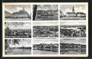 AK Crossen / Krosno Odrz, Markt, Oderpartie, Berglehne