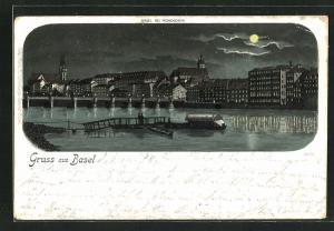 Mondschein-Lithographie Basel, Ortspartie am Flussufer