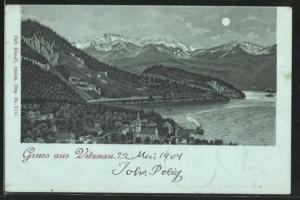 Mondschein-Lithographie Vitznau, Panoramablick mit Gebirge