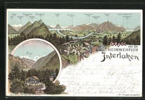 Lithographie Interlaken, Totalansicht, Heimwehfluh, Alpenkette mit Eiger, Mönch, Jungfrau, Stockhorn, Harder, Abendberg