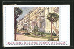 Künstler-AK Salzburg, Grand Hotel de l`Europe, Süd-Fassade