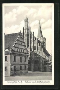 AK Sommerfeld / Lubsko, Ortspartie mit Rathaus und Stadtpfarrkirche