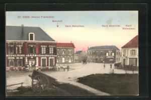 AK St. Erme, Bahnhof, Nach Marschais und Hotel Dore, Nach Sissonne und nach Malmaison
