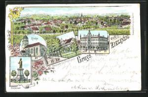Lithographie Zielenzig / Sulecin, Promenade mit Schulhaus, Kirche, Rathaus, Denkmal