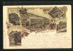 Lithographie Neustädter Hütte am Schneekar, West- und Ostgipfel der Zugspitze, Aufstieg