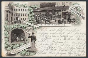 Vorläufer-Lithographie Salzburg, 1895, St. Peter, Stiftskellerei, Weinkeller