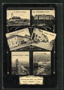 AK Usingen i. Taunus, Hôtel zur goldenen Sonne, Obergasse, Lehrer-Seminar, Ev. Kirche, Usatal