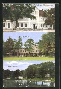 AK Wüstermarke, Gasthof Selma Paschke, Schloss, Dorfteich