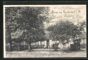 AK Teschendorf i. M., Partie mit Gasthaus Bergemann