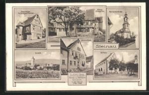 AK Steinau, Grimmshaus, Ehem. Hutt`sches Hospital, Amtsgericht, Rathaus, Schloss, Reinhards-Kirche