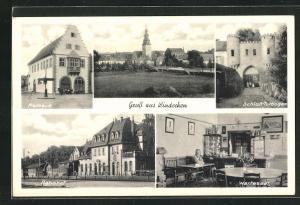 AK Windecken, Bahnhof, Wartesaal, Rathaus, Schloss-Torbogen