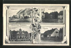 AK Tremmen, Haus C. Schulze, Pfarrhaus und zwei Strassenansichten