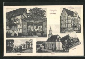 AK Stammheim / Oberhessen, Geschäft L. Becker, Schloss, Kirche und Strassenpartien