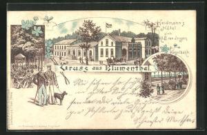Lithographie Blumenthal, Heidmann`s Hotel, Kegelbahn