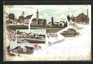 Lithographie Bieberach, Villa Wiedenmann, Gasthöfe Reiser, Dürr und Magg, Milkerei am Kirchberg