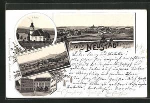 Lithographie Neustadt /Naab, S. Felix, Altenstadt mit Ansicht Parkstein, Schloss